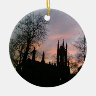 Sunset Behind Chuch and Tree Silhouettes Double-Sided Ceramic Round Christmas Ornament