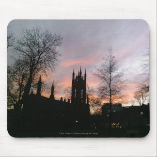 Sunset Behind Chuch and Tree Silhouettes Mousemat Mouse Pads
