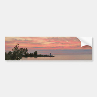 Sunset Behind Clouds by the Lake Bumper Sticker