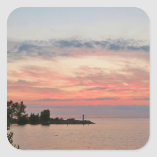 Sunset Behind Clouds by the Lake Square Stickers