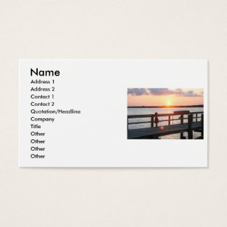 Sunset behind dock in Florida with little girl Business Card