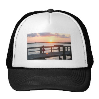 Sunset behind dock in Florida with little girl Mesh Hat