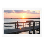 Sunset behind dock in Florida with little girl Custom Invitations