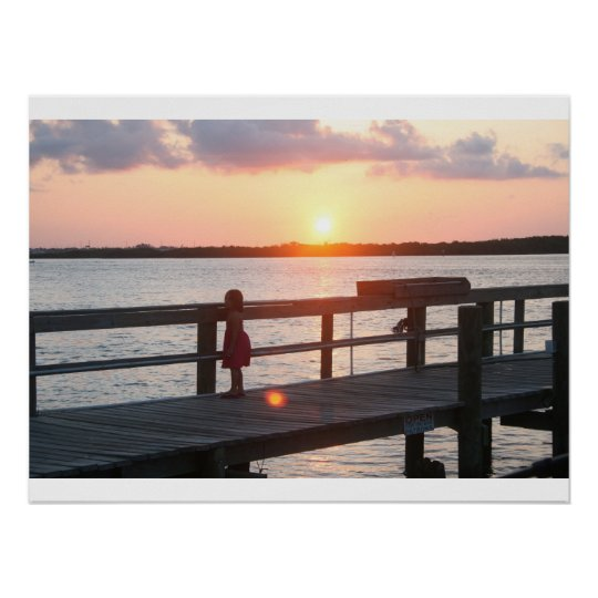 Sunset behind dock in Florida with little girl Poster