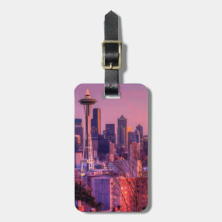 Sunset behind Seattle skyline from Kerry Park. Bag Tag