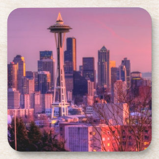 Sunset behind Seattle skyline from Kerry Park. Beverage Coaster