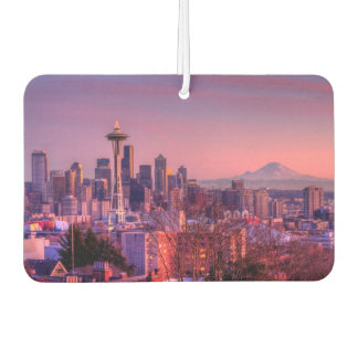 Sunset behind Seattle skyline from Kerry Park. Car Air Freshener