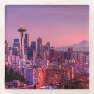 Sunset behind Seattle skyline from Kerry Park. Glass Coaster
