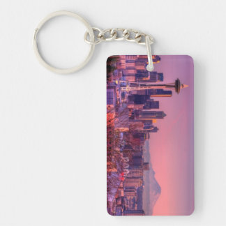 Sunset behind Seattle skyline from Kerry Park. Key Chain