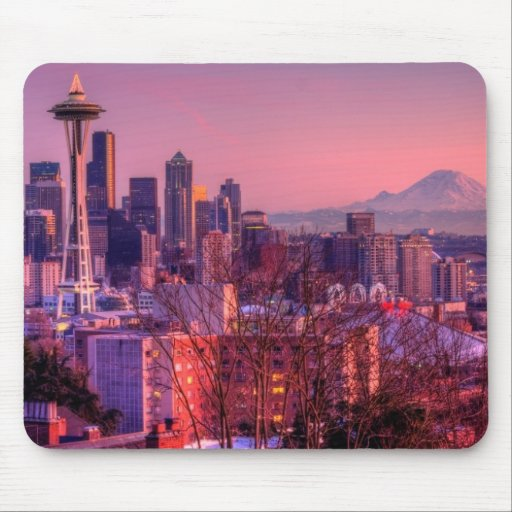Sunset behind Seattle skyline from Kerry Park. Mousepads