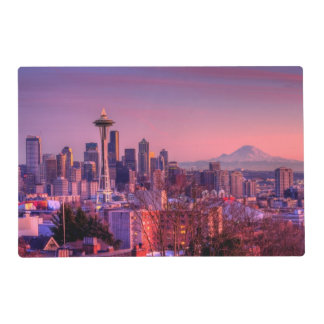 Sunset behind Seattle skyline from Kerry Park. Placemat