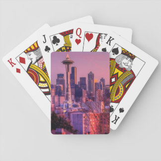 Sunset behind Seattle skyline from Kerry Park. Playing Cards