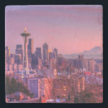 "Sunset behind Seattle skyline from Kerry Park. Stone Coaster<br><div class=""desc"">Skyline at sunset</div>"