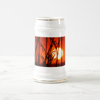 Sunset behind the bamboo beer stein