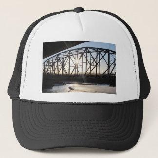 Sunset behind the bridge to Palmer Alaska Trucker Hat