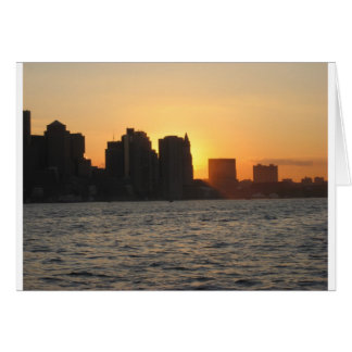 Sunset behind the City of Boston Card