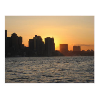 Sunset behind the City of Boston Postcard