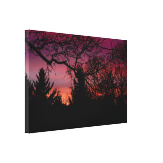Sunset Behind Trees Wraped Canvas Canvas Print