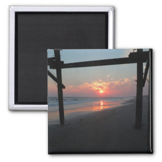 Sunset Beneath The Pier - Oak Island, NC Fridge Magnets