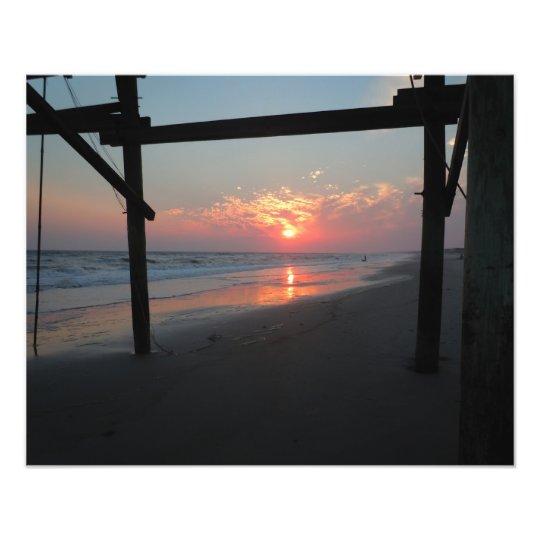 Sunset Beneath the Pier - Oak Island, NC Photo Print