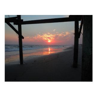 Sunset Beneath The Pier - Oak Island, NC Postcard