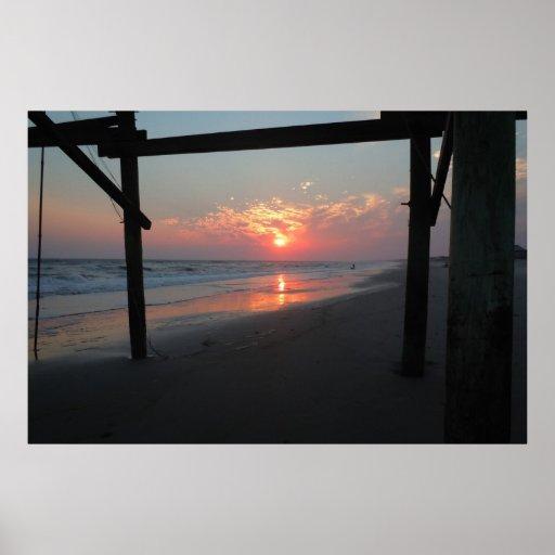 Sunset Beneath The Pier - Oak Island, NC Print