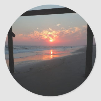 Sunset Beneath The Pier - Oak Island, NC Classic Round Sticker