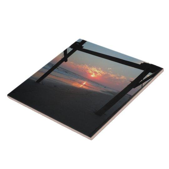 Sunset Beneath The Pier - Oak Island, NC Tile
