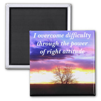 Sunset beyond the Tree_ 2 Inch Square Magnet