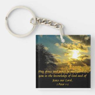 sunset bible verse 2 Peter 1:2 key chain