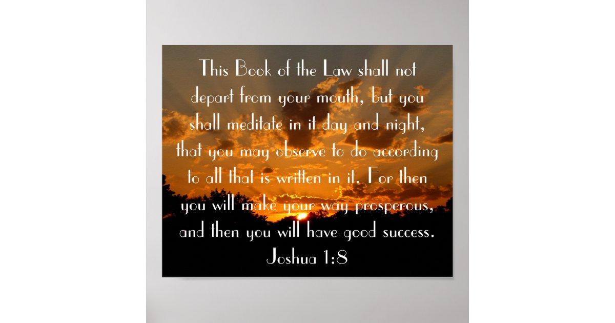 Sunset Bible Verse Joshua 1 8 Poster Zazzle Com