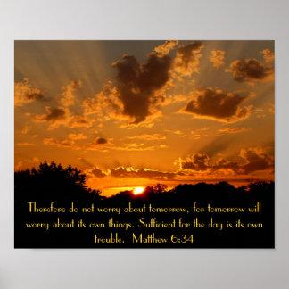 sunset bible verse Matthew 6:34 Posters