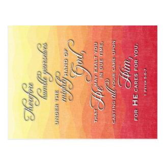 Sunset Bible Verse - Postcard - 1 Peter 5:6-7