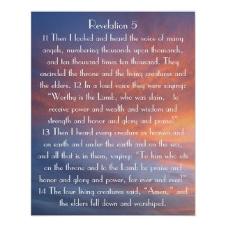 sunset bible verse Revelations 5:11-14 Poster