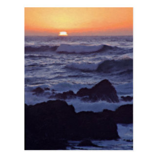 Sunset Big Sur California Painted Postcard