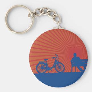 Sunset Bike Ride Basic Round Button Keychain