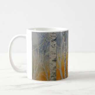 Sunset Birch Trees Classic White Coffee Mug