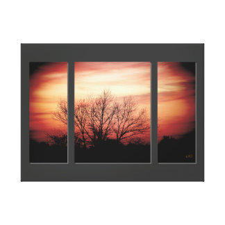 Sunset Birch Triptych Wrapped Canvas Print