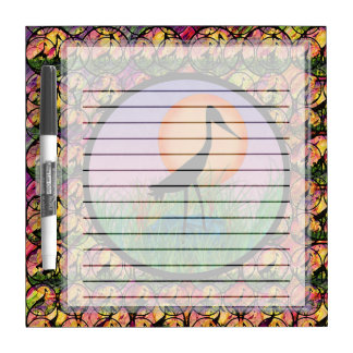 Sunset Bird Lined Small Dry Erase Board