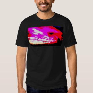 Sunset black white pink red tee shirt