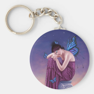 Sunset Blue Monarch Butterfly Fairy Keychain