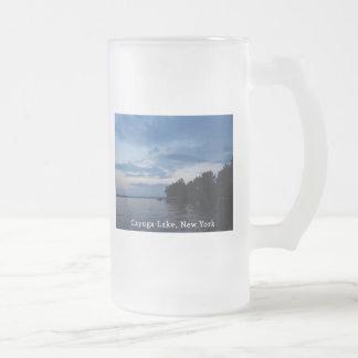Sunset Blue Sky Cayuga Lake NY Frosted Glass Beer Mug