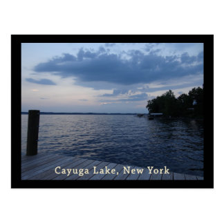 Sunset Blue Sky Cayuga Lake NY Postcard
