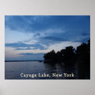 Sunset Blue Sky Cayuga Lake NY Poster