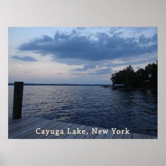 Sunset Blue Sky Cayuga Lake NY Posters
