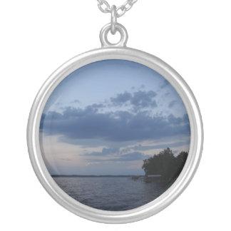 Sunset Blue Sky Over Cayuga Lake NY Round Pendant Necklace