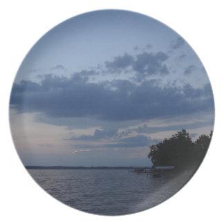 Sunset Blue Sky Over Cayuga Lake NY Plate