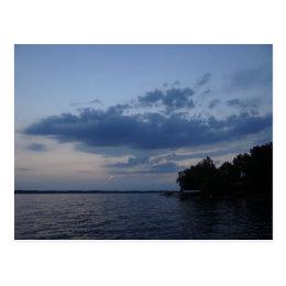 Sunset Blue Sky Over Cayuga Lake NY Postcard