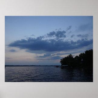 Sunset Blue Sky Over Cayuga Lake NY Print