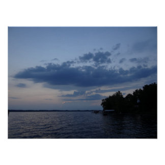 Sunset Blue Sky Over Cayuga Lake NY Poster